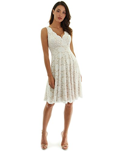 PattyBoutik Women Floral Lace Overlay Fit and Flare Dress (Ivory and Beige Large)