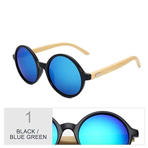 Steampunk Madera De Sol Negro En Blue Bambú Vintage Azul Black De Mujeres De Gafas De Redondo Regreso Gafas Para Sol Hombres TIANLIANG04 Green Mujer De 5XaYwqX