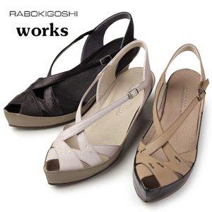 IV,アイボリー 25.0 RABOKIGOSHI works サンダル 靴 ラボキゴシ ワークス 1019 ローヒール ウエッジソール バックストラップ