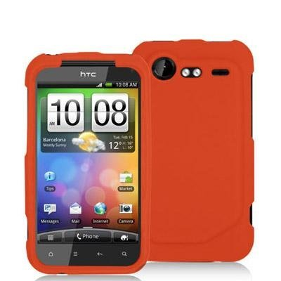 Orange Silicone Rubber Gel Soft Skin Case Cover for HTC Droid Incredible 2 6350 by (Htc Droid Incredible Rubber)