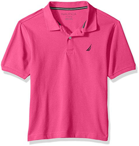 Nautica Toddler Boys' Short Sleeve Deck Polo With Stretch, Anchor Hot Pink, 3T