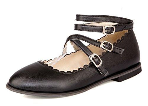 Aisun Womens Cute Comfort Ronde Neus Strappy Double Buckled Enkel Wrap Flats Schoenen Met Enkelbandje Zwart