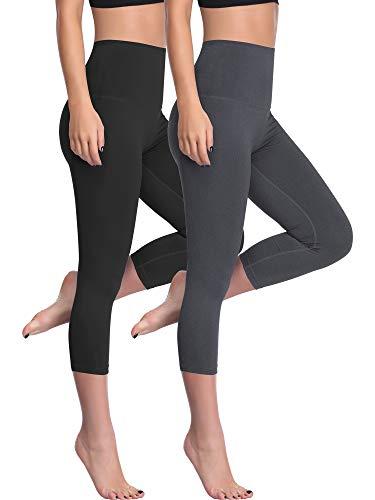 Cadmus High Waist Yoga Capri,Tummy Control,Workout Pants with Pockets for Womens,1002,Black & Grey,Medium