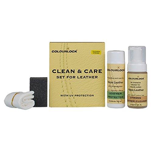 COLOURLOCK Kit Produit de nettoyage et d'entretien du cuir Nettoyage et protection des intérieurs de voiture, suites en cuir, canapés, vestes, sacs à main et autres objets en cuir contre l'usure gé