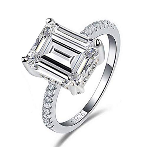 TenFit Jewelry Stunning Flame Solitaire Engagement Ring Cubic Zirconia CZ in White Gold Plated for Women