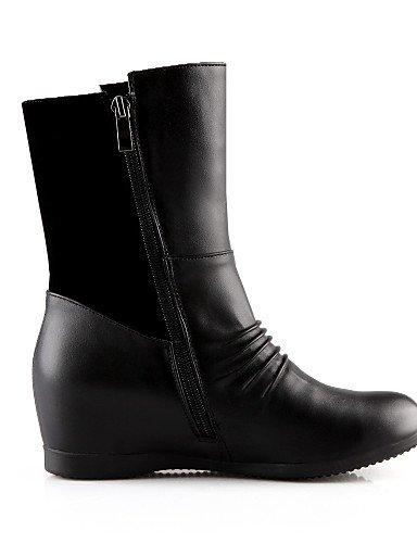 Redonda Semicuero Cuña Uk3 Cuñas Mujer Casual Moda Cn39 Eu39 Xzz Punta us8 La us5 Zapatos Cn34 Eu35 De Negro Vellón Black Botas Tacón Vestido A Black Uk6 qfIp0Zw