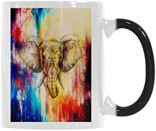 InterestPrint Cool Elephant with Floral Ornament Heat Sensitive Mug Color Changing Coffee Mug Morphing Tea Cup for Women Men Kids Mom Dad Friends, 11 Ounce