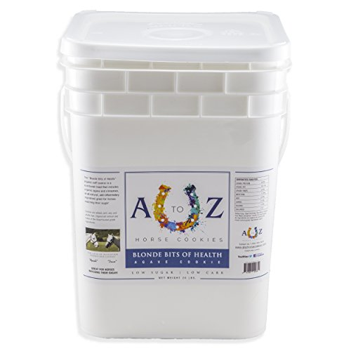 Horse Cookie Treat: Blond Bits Of Health Flavor by A - Z Horse Cookies, Low Carb Low Sugar Softer Treats, Organic, Great For All Horses And Excellent For Those With Metabolic Conditions, 20 lbs Pail by A to Z Horse Cookies