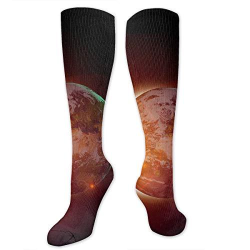 Compression Socks Solar Eclipse Sun Soccer Sports Knee High Tube Socks For Women And Men ()