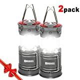 2 Pack Rechargeable LED Camping Lantern, COSOOS Portable Lantern Flashlight with Built in Battery, 4 Lighting Modes, Survival Kit for Emergency, Hurricane, Storm, Power Outage