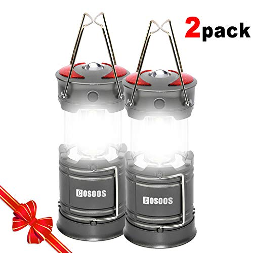 2 Pack Rechargeable LED Camping Lantern, COSOOS Portable Lantern Flashlight with Built in Battery, 4...