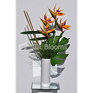 Silk Blooms Ltd Artificial Orange Bird of Paradise and Monstera Leaf Vase Arrangement w/Real Bamboo