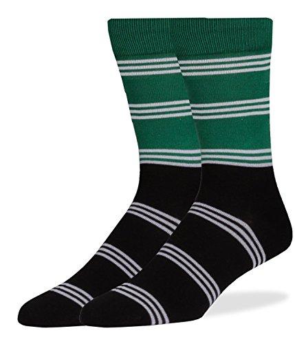 Block Stripe Socks - SPREZZA Men's Block Stripe Crew Dress Socks, Cotton, Size 9-13, Green & Black