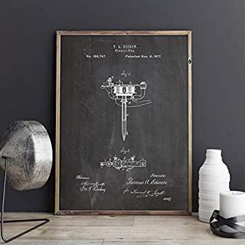 Size Tattoo Machine Patent,Stencil Pen Wall Art,Tattoo Parlor Posters,Decor,Vintage Print,Blueprint Inch US 5x7 Wall Decorations - , Color: CP11501 Gift idea : 13x18cm