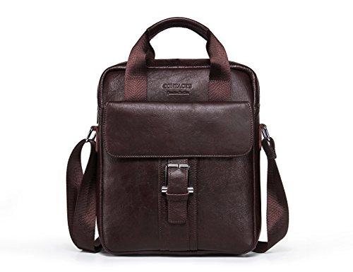 "Contacts Genuine Leather 14"" Mens Messenger Shoulder Bag Laptop Briefcase for sale"