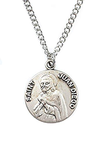 Patron and Protector Medals Pewter Saint St Juan Diego Dime Size Medal Pendant, 3/4 - Medal Diego Juan