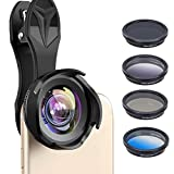 Kathleen Chance Phone Camera Lens Kit, Wide Angle/Marco/ND8/CPL Minus/Grad Blue/Grad Gray Lens for iPhone Samsung and Most Smartphone  6in1 Cell