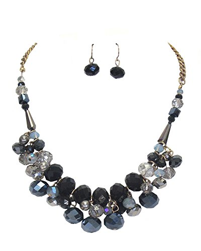 "(Extra Chunky Black Smoky Glass Gray Imitation-Pearl Translucent Glass Bauble Bib Necklace 17"" w/Earrings)"