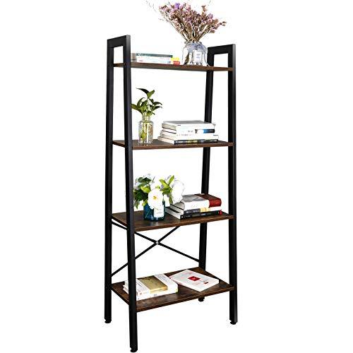 SUPER DEAL Ladder Shelf 4-Tier Bookcase Plant Book Display Furniture Storage Rack Shelf for Lounge Room Home Office Bathroom (Rustic Brown) (Best Deals On Ladders)