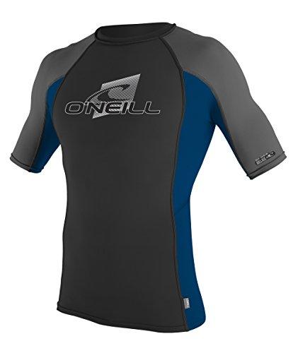 O'Neill Wetsuits Men's UV Sun Protection Skins Short Sleeve Crew Rashguard, Black/Deep Sea/Graphite, X-Large