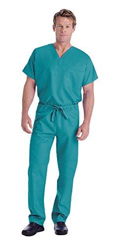 (Landau Unisex V-Neck Scrub Top 7502 & Scrub Pant 7602 Medical Uniform Scrub Set (Teal - Small))