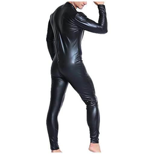 Qiati Mens Full Body Leotard Long Sleeves Unitard Faux Leather Bodysuit Us X Largewith Tag Xxl