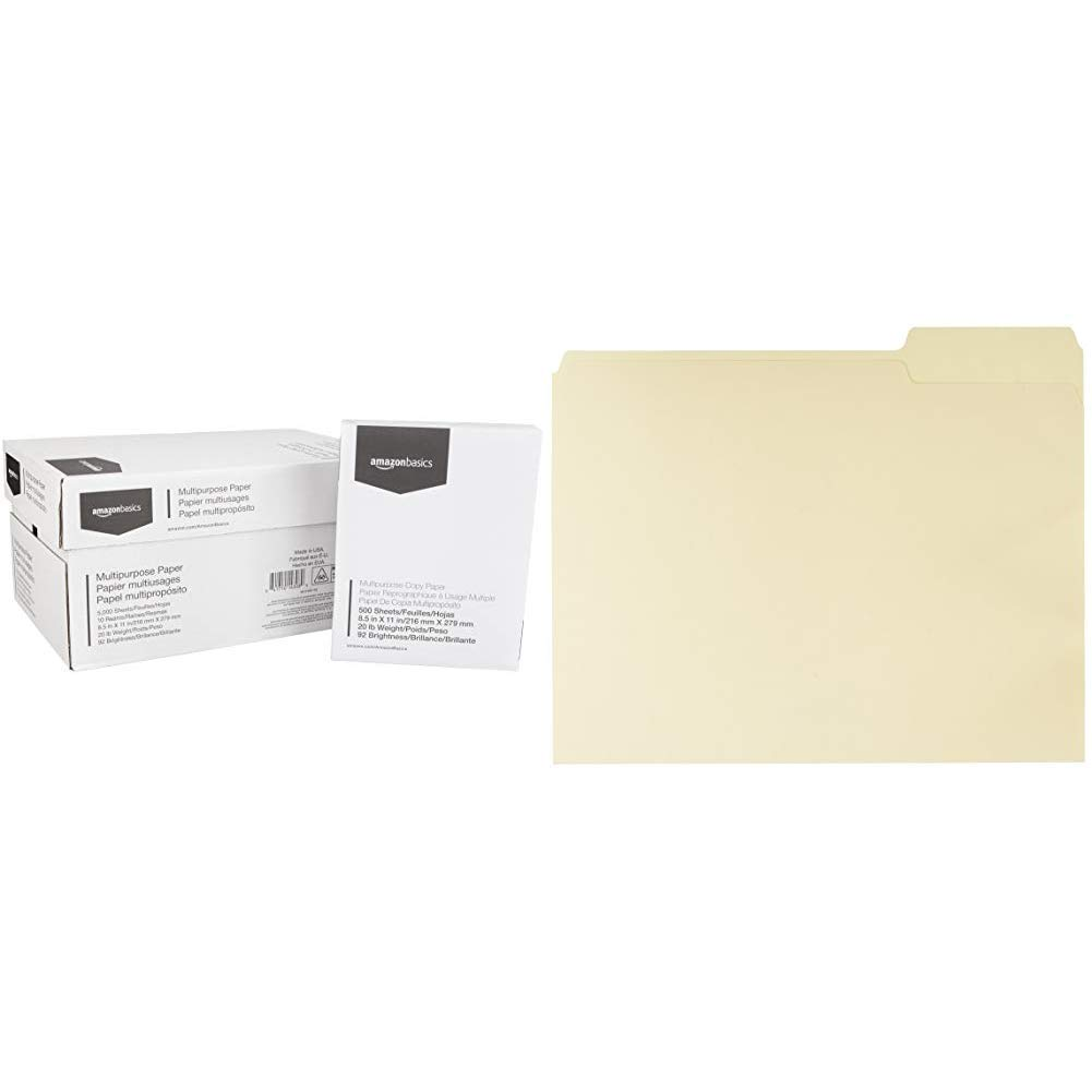 AmazonBasics 92 Bright Multipurpose Copy Paper - 8.5 x 11 Inches, 10 Ream Case (5,000 Sheets) & File Folders with Reinforced Tab - Letter Size (100 Pack) – Manila - AMZ400