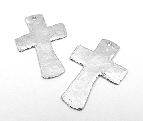 - Two (2) Silver Tone Pewter Large Hammered Cross Pendants 5014