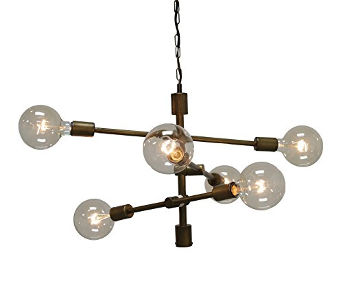 Creative Co-Op Round Metal Hanging Pendant Lamp with Six Lights (Wall Sconce Floral Arrangements)