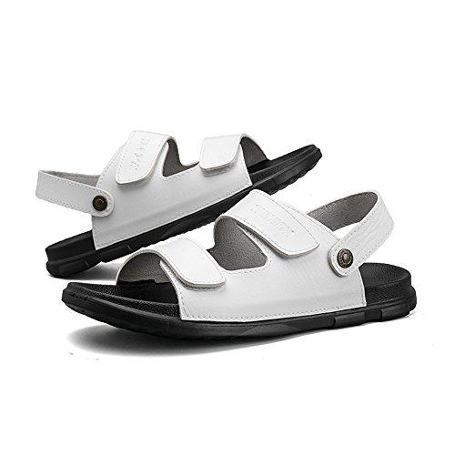 Scarpe spiaggia PU shoes 44 in piatti uomo Pantofole antiscivolo regolabili senza Bianca da per da morbidi Color EU 2018 gli Casual amanti pelle schienale Mens Sandali Dimensione 0UxqIff