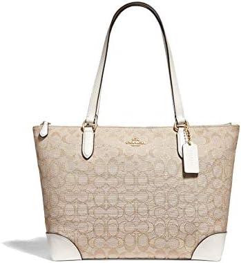 Coach F29958 Zip Top Tote In Signature Jacquard Handbag Shoulder Bag Purse Set