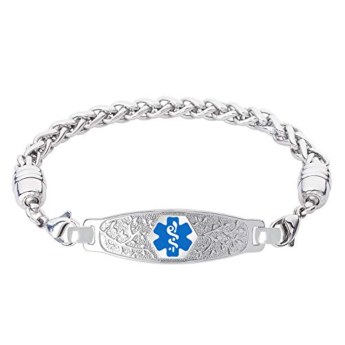 Divoti Custom Engraved Medical Alert Bracelets for Women, Stainless Steel Medical Bracelet, Medical ID Bracelet w/Free Engraving - Beautiful Olive Tag w/Wheat-Light Blue-7.0