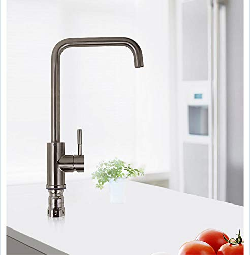 YBHNB Kitchen Sink Taps, Stainless Steel lead-free redating Nozzle Hot and Cold Combination Single Handle Brushed Kitchen Sink Faucet