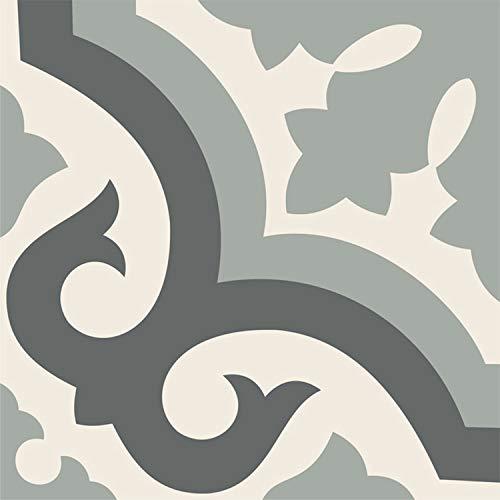 (Sticker Tile Stickers Floor Floor Decals Carreaux Ciment Encaustic Palermo Floor Panel in Pearl Peel & Stick Vinyl Adhesive Tiles(Set 12 Units))