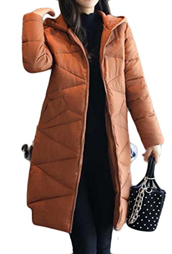 Womens amp;S Down Jacket Length M amp;W Mid Coat Overcoat Khaki Slim Quilted Hooded w6OOqTC