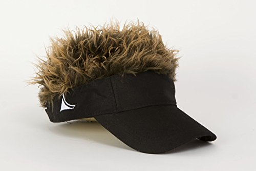 Flair Hair Men's Adjustable Black Visor and Hair, Black/Brown, One Size