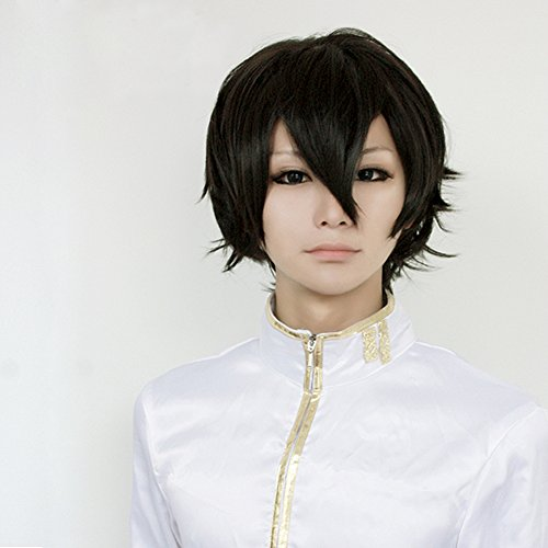 Hitman Reborn Lambo Costume (Hitman Reborn Lambo Black Short Party Hair Full Cosplay Wig Full Lace Fronts Wig)