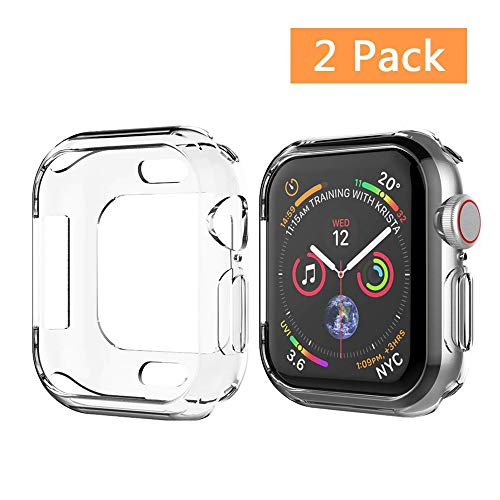 UMTELE Case Compatible for Apple Watch 4 44mm 2018, Soft TPU Case Clear HD Protector Cover Compatible for Apple Watch Series 4, 2 Pack(44mm)