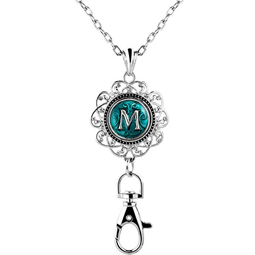 ThirdTimeCharm A-Z Letter Initial Necklace Lanyard Jewelry ID Badge Holder Necklace Pendant (M)