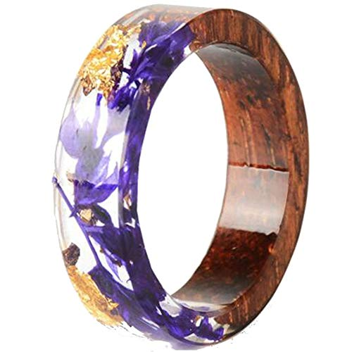 - Jude Jewelers 8mm Transparent Acrylic Resin Wood Ocean Style Wedding Band Anniversary Ring (Purple, 7)