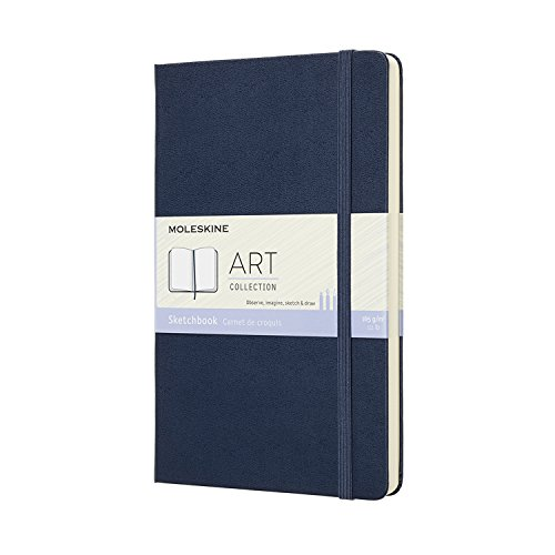Moleskine Art Sketchbook, Hard Cover, Large (5 x 8.25) Plain/Blank, Sapphire Blue