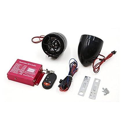 eDealMax 2pcs Negro motocicleta MP3 USB SD Amplificador de alarma de seguridad del altavoz de Audio