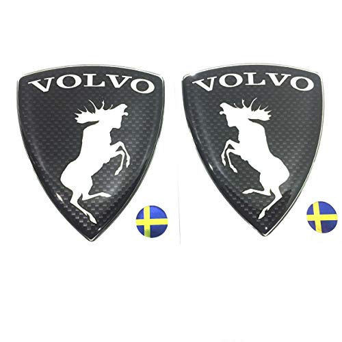 "Alstickers! Prancing Moose (ELK) Volvo Set 2 Pieces car Stickers, Polyurethane Metallic Film 1.89""X2.28"" (48x58 mm), Carbon"