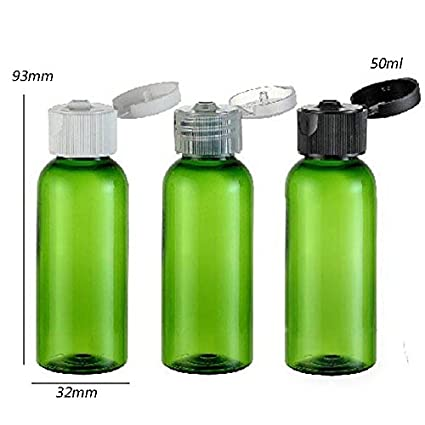 50pcs/lot 50 ml verde botella de PET con tapa, 50cc verde plástico crema