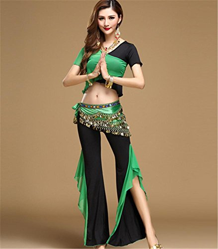 Femmes Vêtements de danse du ventre / Performance de danse Vêtements / 2 pcs black green wmPqc8Wb
