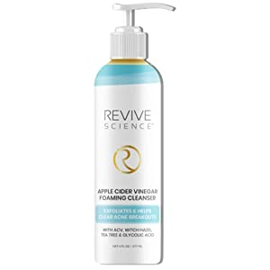 Revive Science Apple Cider Vinegar Exfoliating Face Wash - Foaming Facial Cleanser with AHA, Glycolic & Witch Hazel for All Skin Types- Helps Reduce Acne & Blackheads - Face Wash for Women & Men, 6oz