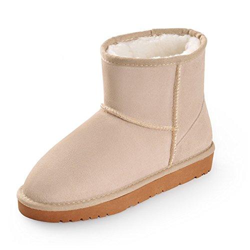 Fortunings JDS Señoras de las mujeres Invierno impermeable antideslizante peludo terciopelo termal de algodón botas madre zapatos botas para la nieve Beige