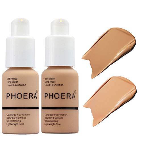 2 Pcs Liquid Foundation 30ml Natural Moisturizing Highlighting Matte Oil Control Concealer Facial Blemish Concealer…