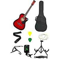 Jixing Jxng-Red-SC1,Red Acoustic Guitar With Kadence Foldable Guitar Stand, Tuner , String, Strap, 3 Picks , Bag , Red