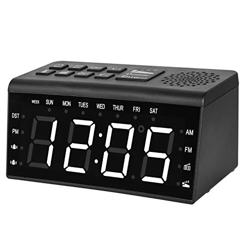 Zmoon Digital Alarm Clock, Alarm Clock Radio with AM/FM Radio, 6.5 LED Display, Dual Alarms Clock, Dimmer, Snooze, Sleep Timer, Temperature Display, 12/24 Hours, USB Charge Port
